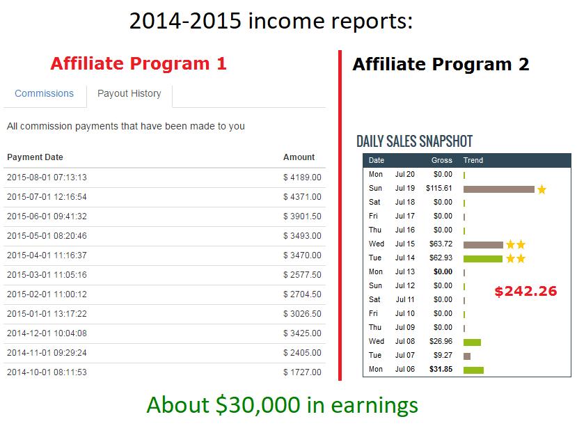2015 affiliate income report