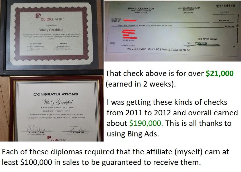 affiliate marketing on bing ads proof 1