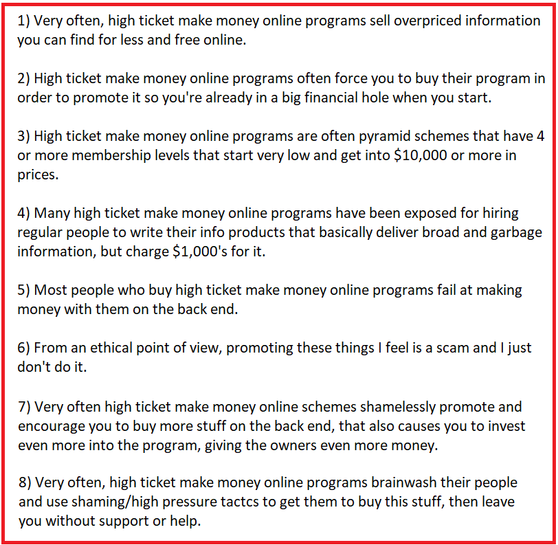 high ticket affiliate marketing scams