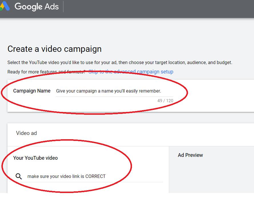 youtube ads set up part 1