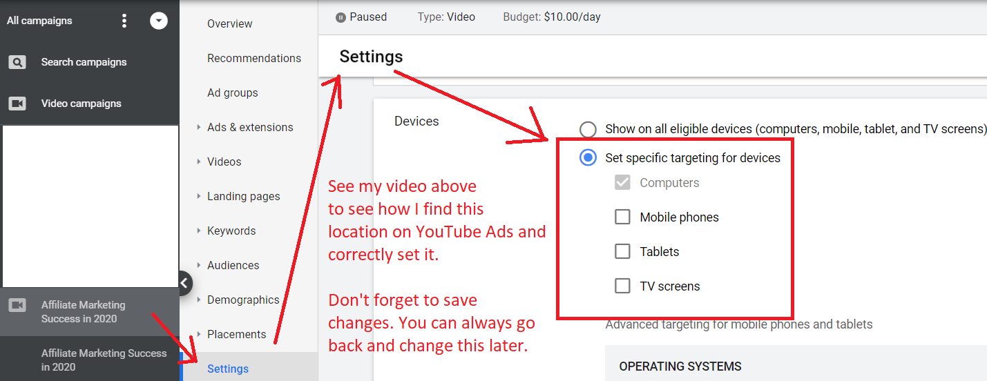 youtube ads how to set devices