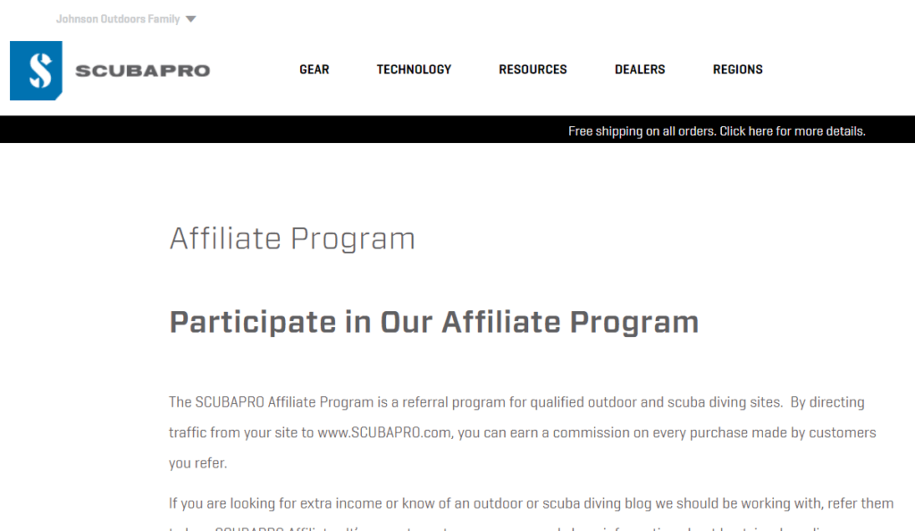 scuba pro affiliate program screenshot