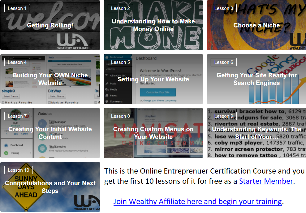 wealthy affiliate online entreprenuer certification course