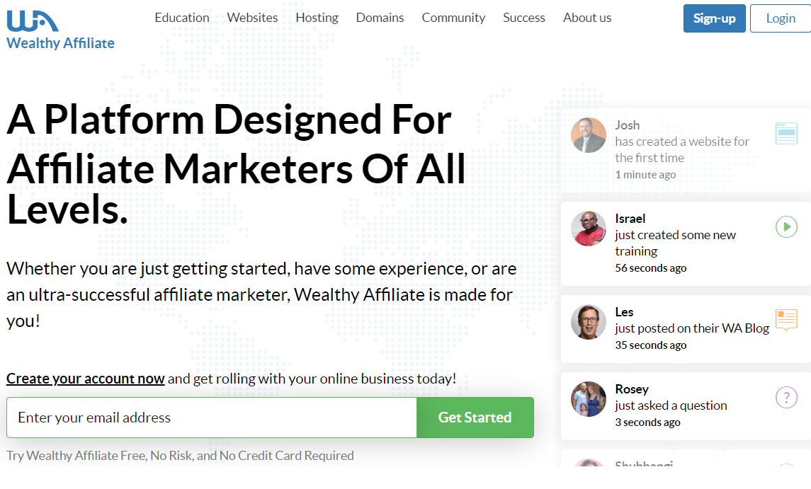 wealthy affiliate review join page
