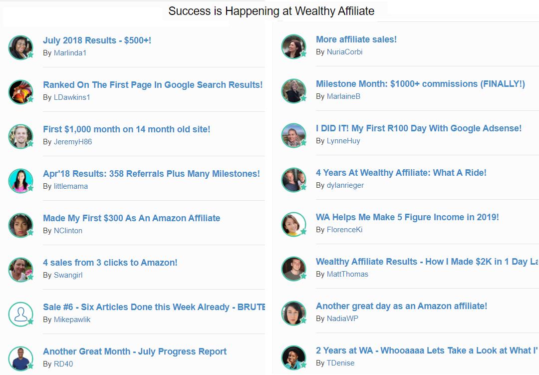 wealthy affiliate success stories screenshot