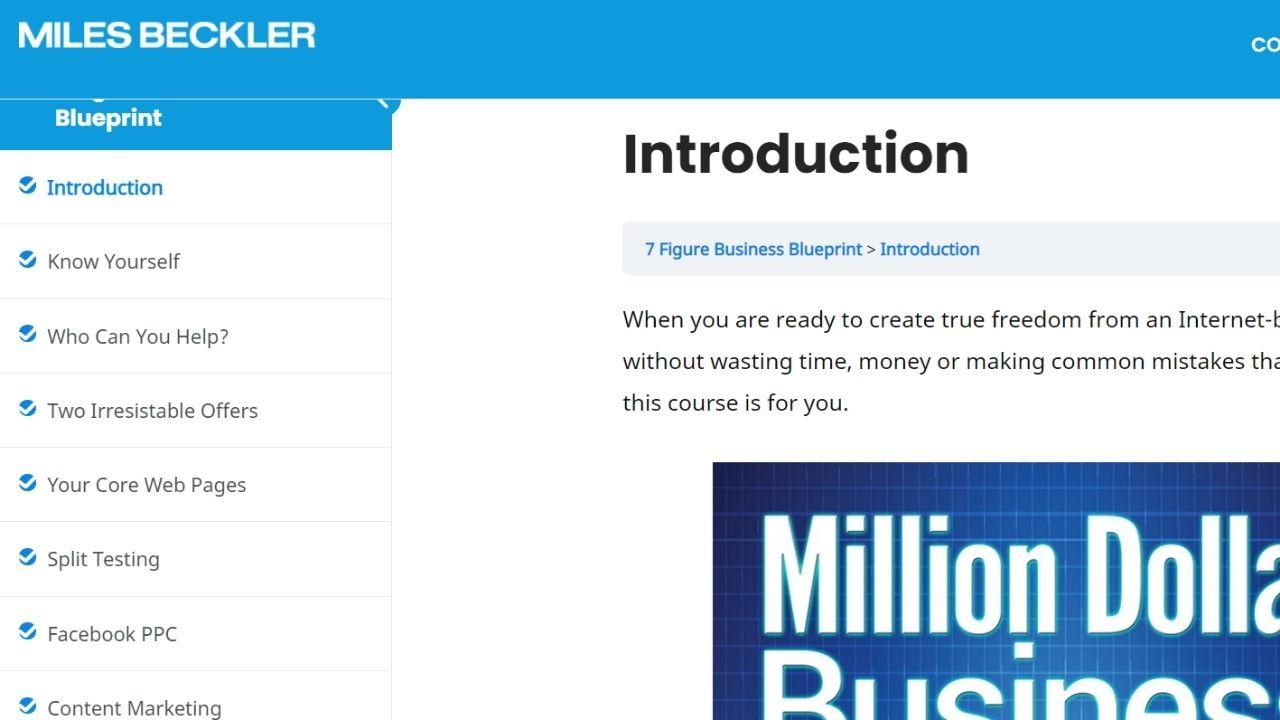 miles beckler course 7 figure business blueprint screenshot