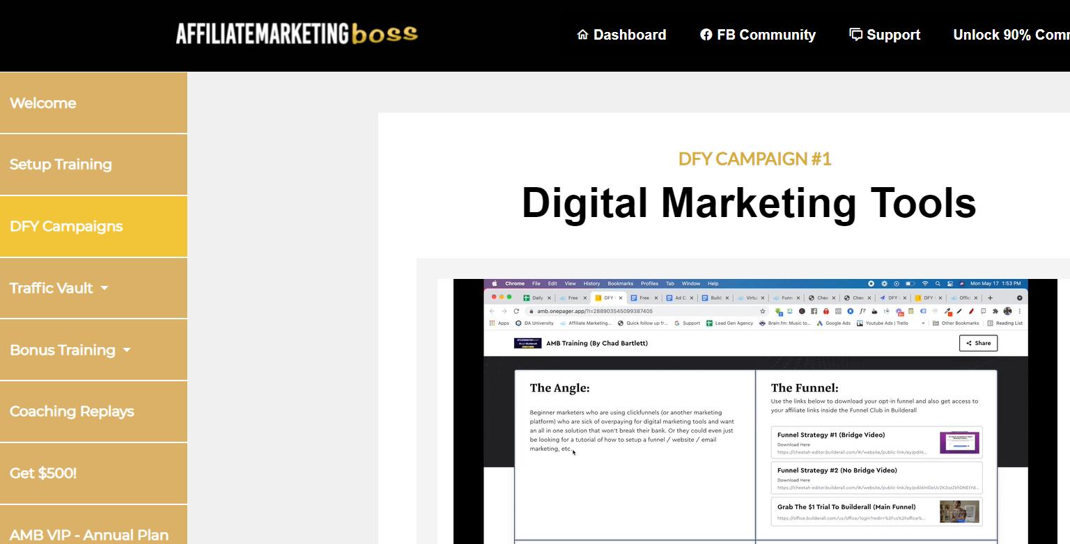 affiliate marketing boss members area screenshot