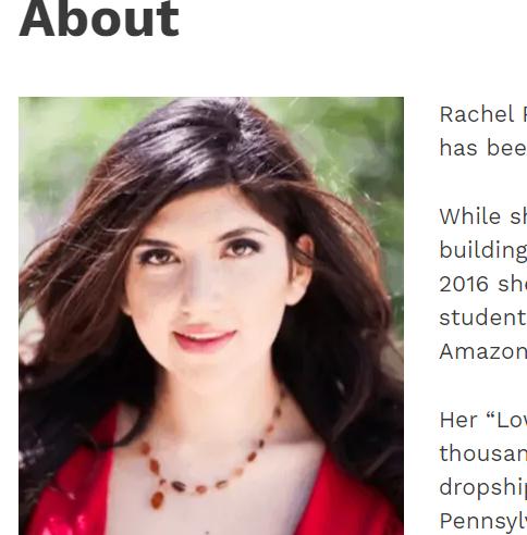 rachel rofe about page screenshot