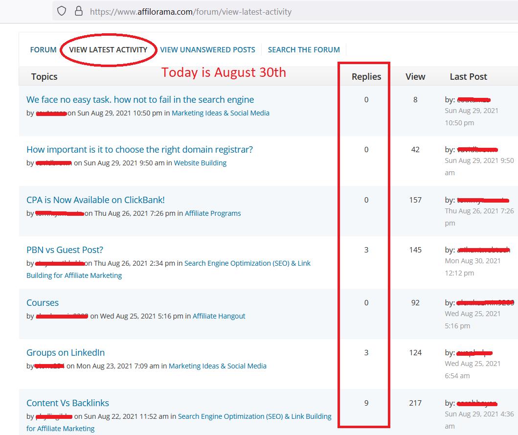 affilorama forum screenshot