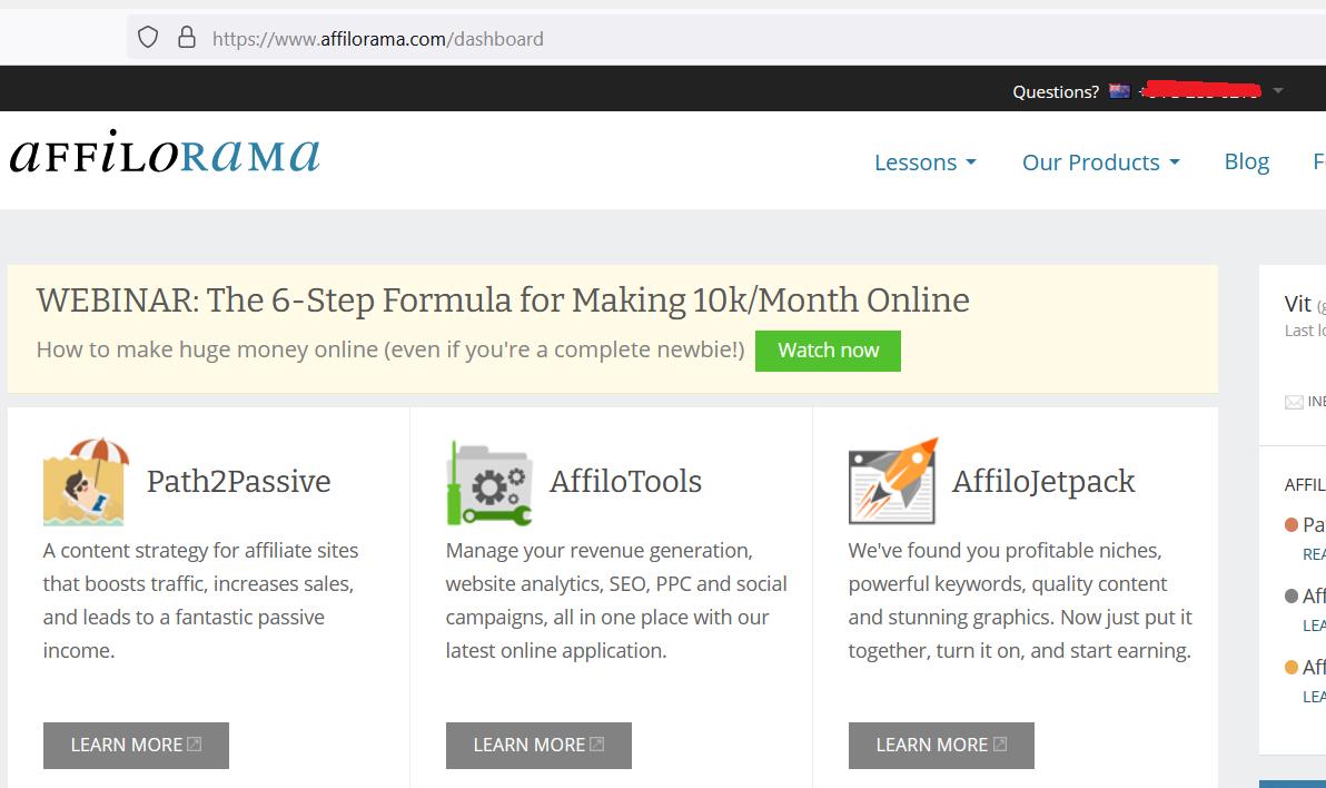 affilorama products screenshot