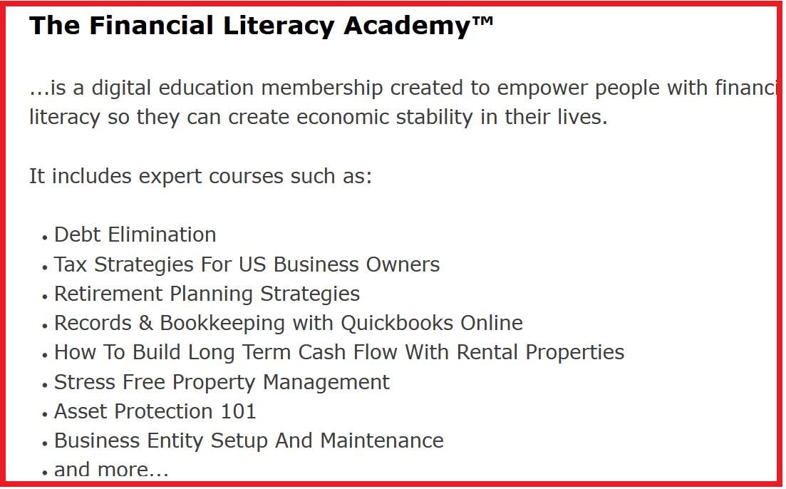 the home business academy financial literacy academy screenshot