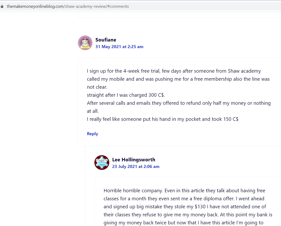 shaw academy reviews screenshot